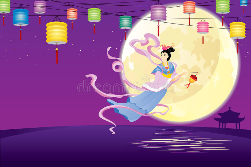 Chinese Fairy flying to the moon illustration royalty free illustration