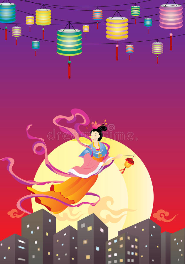 Chinese Fairy flying to the moon illustration stock illustration