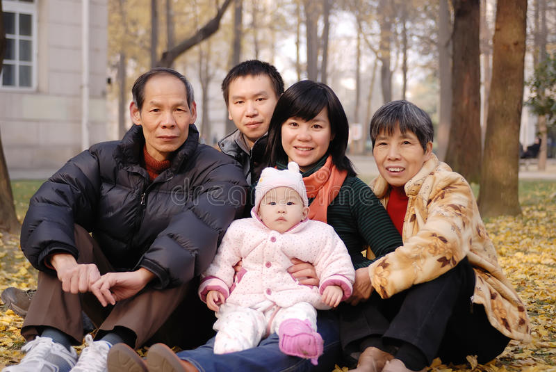 Download Chinese family in autumn stock photo. Image of grandfather - 16900720