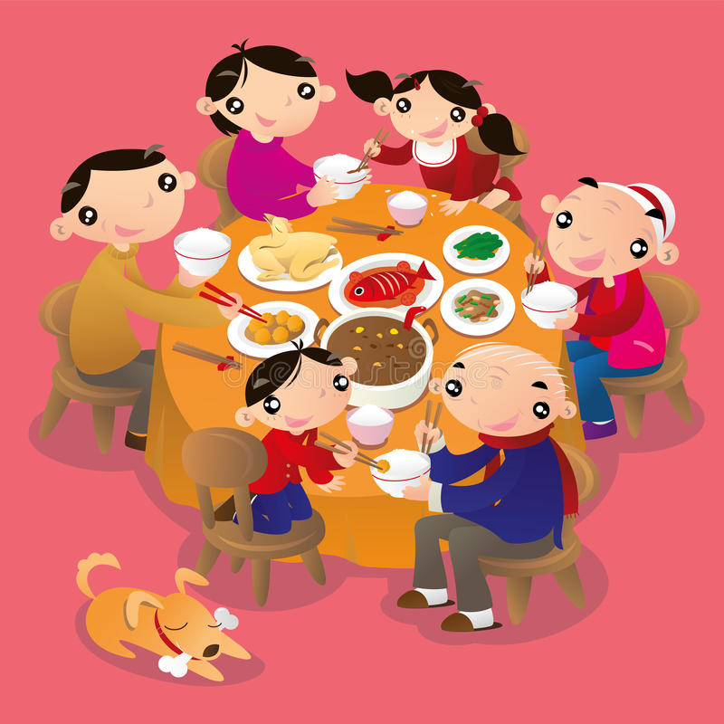 A Chinese family reunion dinner. It is a traditional practice of Chinese people to get all family members together and have a dinner to celebrate the festivals stock illustration