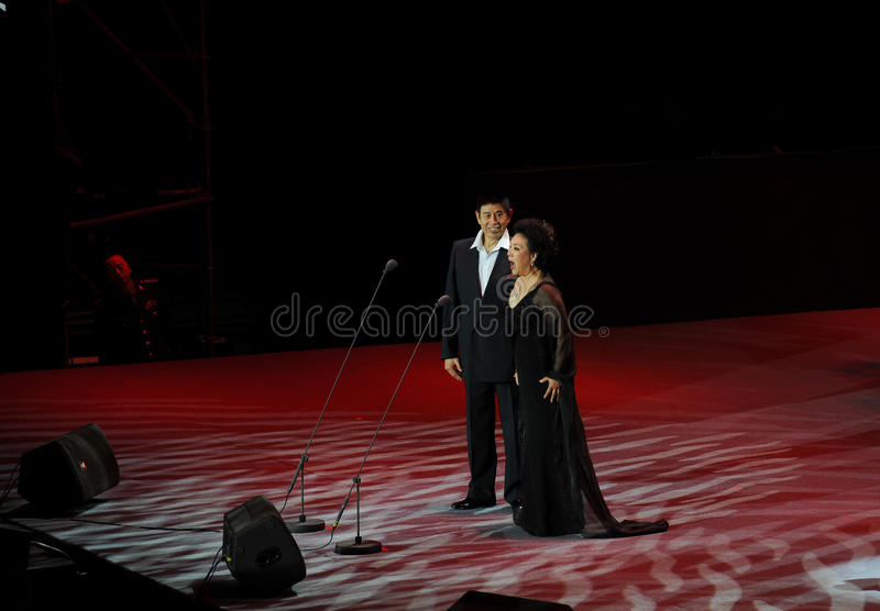 Chinese famous bel canto singer Cheng Zhihe Wang Xiufen-theFamous and classicconcert. The evening of November 8, 2014, known by Karim, Wenhua, Cheng Zhi, Yan stock images