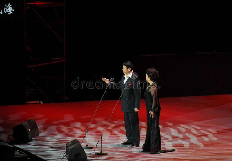 Chinese famous bel canto singer Cheng Zhihe Wang Xiufen-theFamous and classicconcert. The evening of November 8, 2014, known by Karim, Wenhua, Cheng Zhi, Yan stock photos