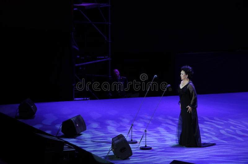 Chinese famous bel canto singer Wang Xiufen-theFamous and classicconcert. The evening of November 8, 2014, known by Karim, Wenhua, Cheng Zhi, Yan Weiwen, Cai stock photo