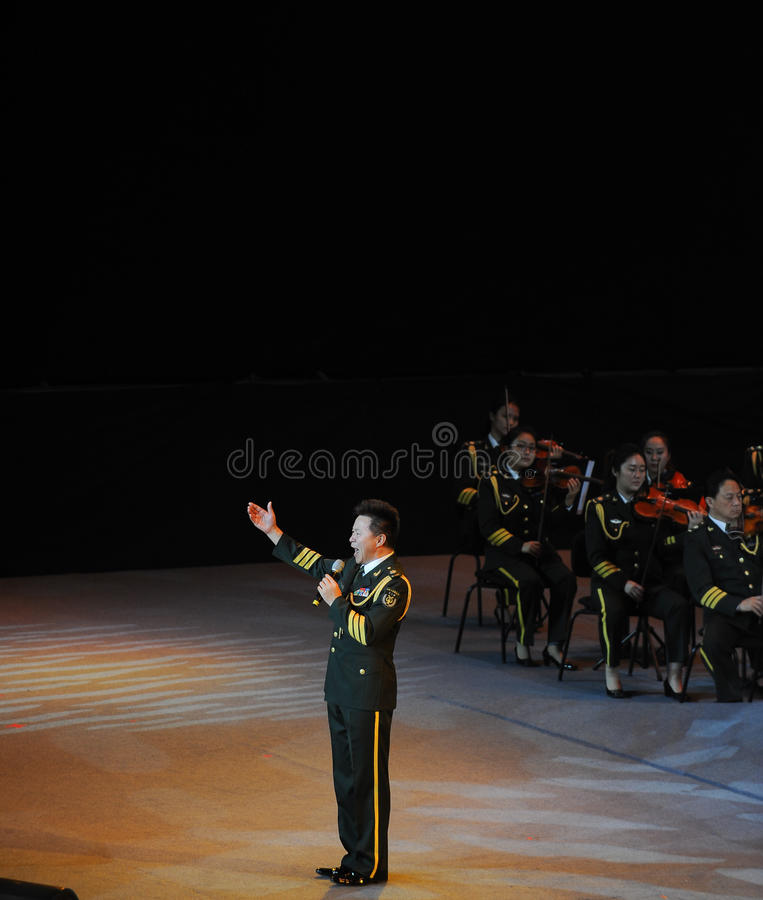 Chinese famous folk singer Wang Hongwei-theFamous and classicconcert. The evening of November 8, 2014, known by Karim, Wenhua, Cheng Zhi, Yan Weiwen, Cai Guoqing royalty free stock image