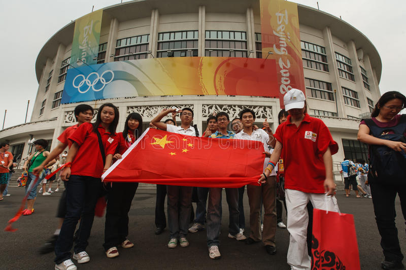 Download Chinese Fans Display Flag Olympic Stadium Beijing Editorial Photography - Image: 25676907