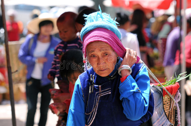 Chinese farmers sell their goods on the market royalty free stock photo
