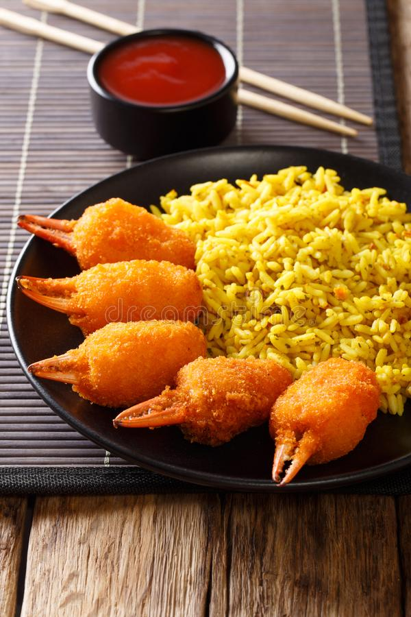 Chinese fast food crab claws in breadcrumbs surimi with spicy ye stock images
