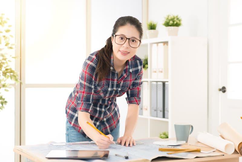 Chinese female interior designer sketch draft stock photos
