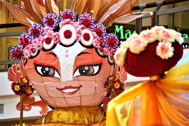 Chinese female paper opera status stock photography