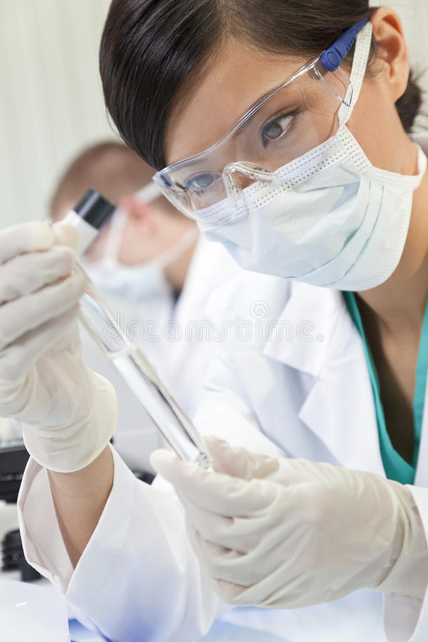 Chinese Female Woman Scientist In Laboratory royalty free stock photography
