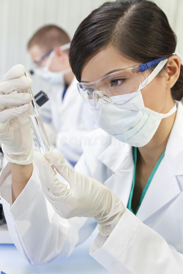 Chinese Female Woman Scientist In Laboratory royalty free stock photo
