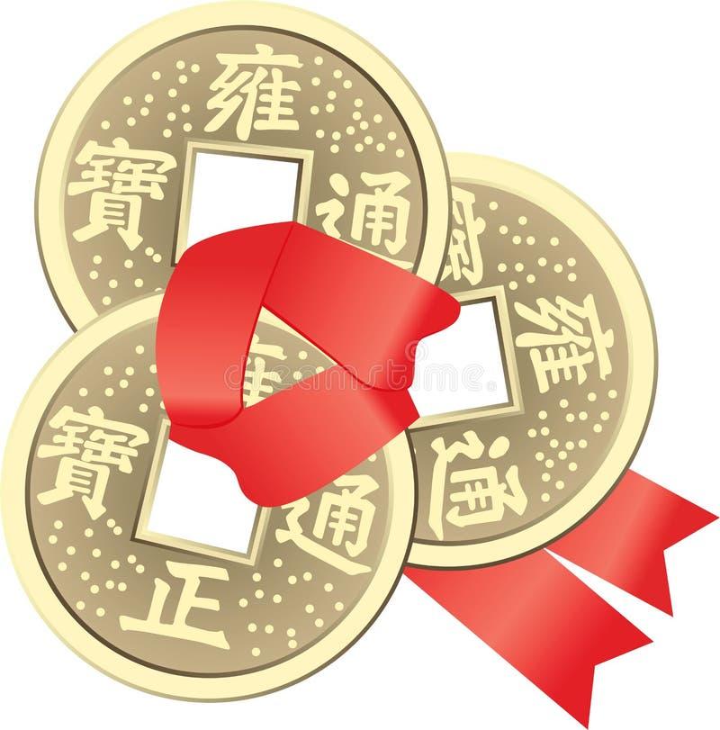 Chinese Feng Shui Coins für Reichtum und Erfolg vektor abbildung