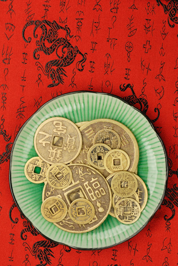 Download Chinese Feng Shui Coins In A Plate Stock Photo - Image of ancient, symbol: 11898432