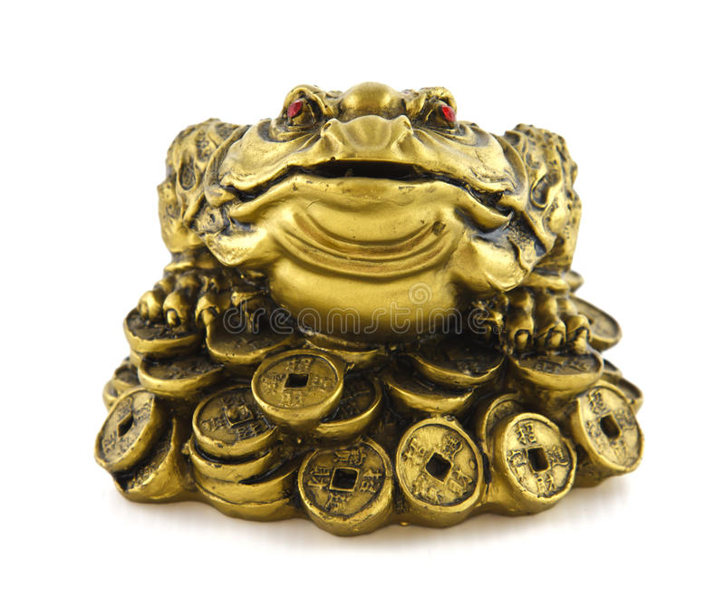 Chinese Feng Shui lucky money frog for good luck. And riches stock photos