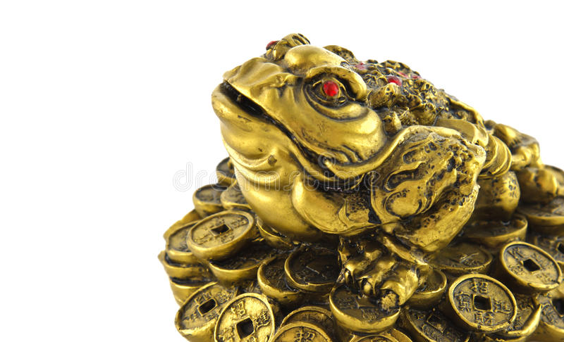 Chinese Feng Shui lucky money frog for good luck. And riches royalty free stock images