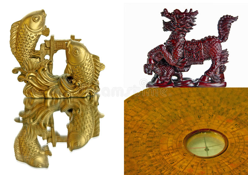Chinese Feng Shui tools. Carp fishes dragon horse and compass stock images
