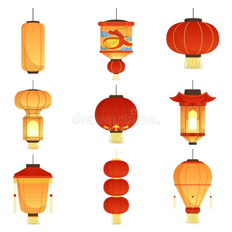 Free Chinese Festival Lanterns. China Street Asian Chinatown Wedding Paper Lanterns Vector Cartoon Symbols Isolated Stock Photography - 125901142