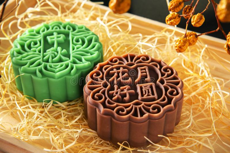 Chinese, festival, reunion, Mid-Autumn Festival, moon cake shape, soap royalty free stock photo