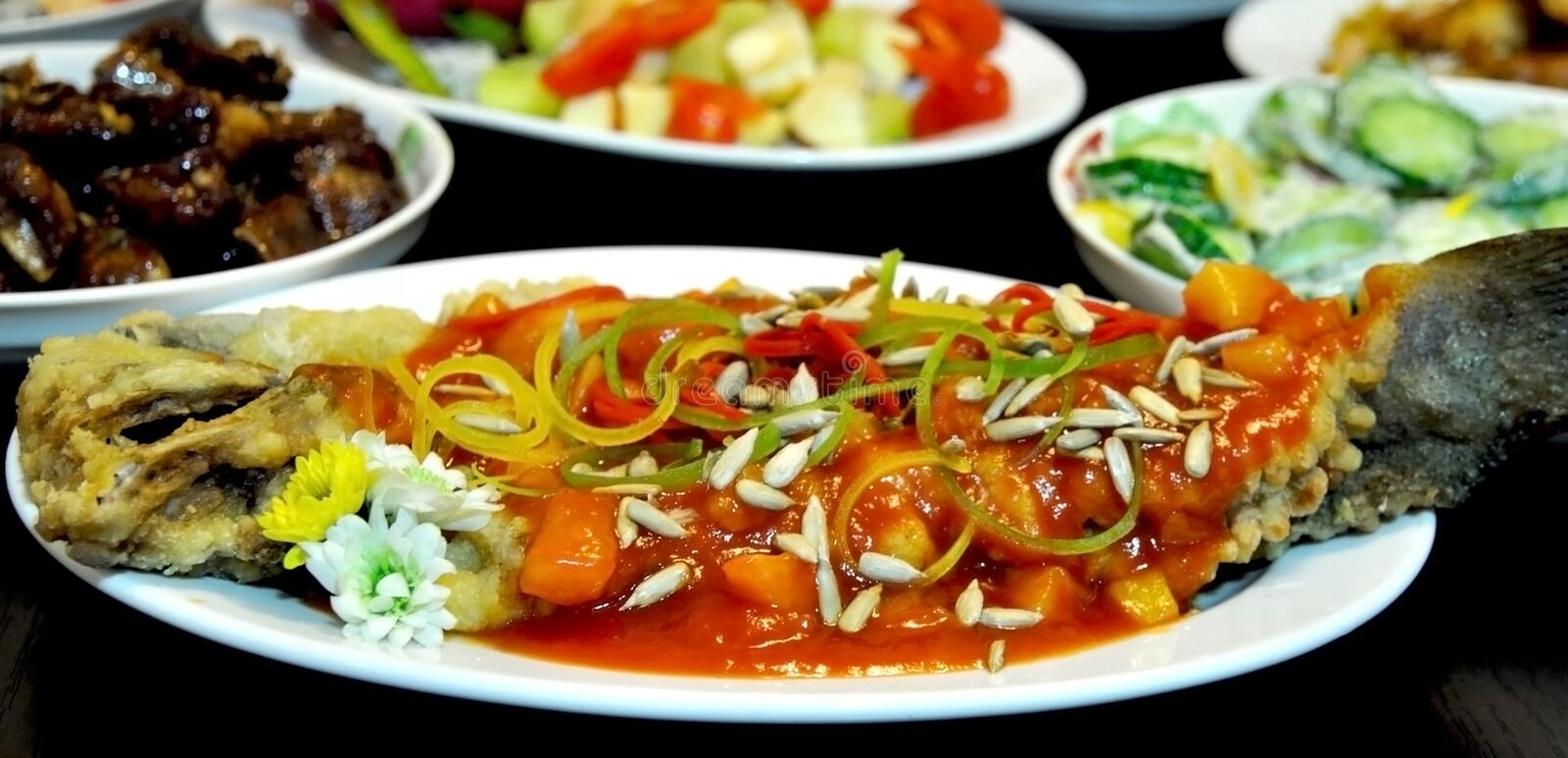 Chinese fish dishes royalty free stock photo