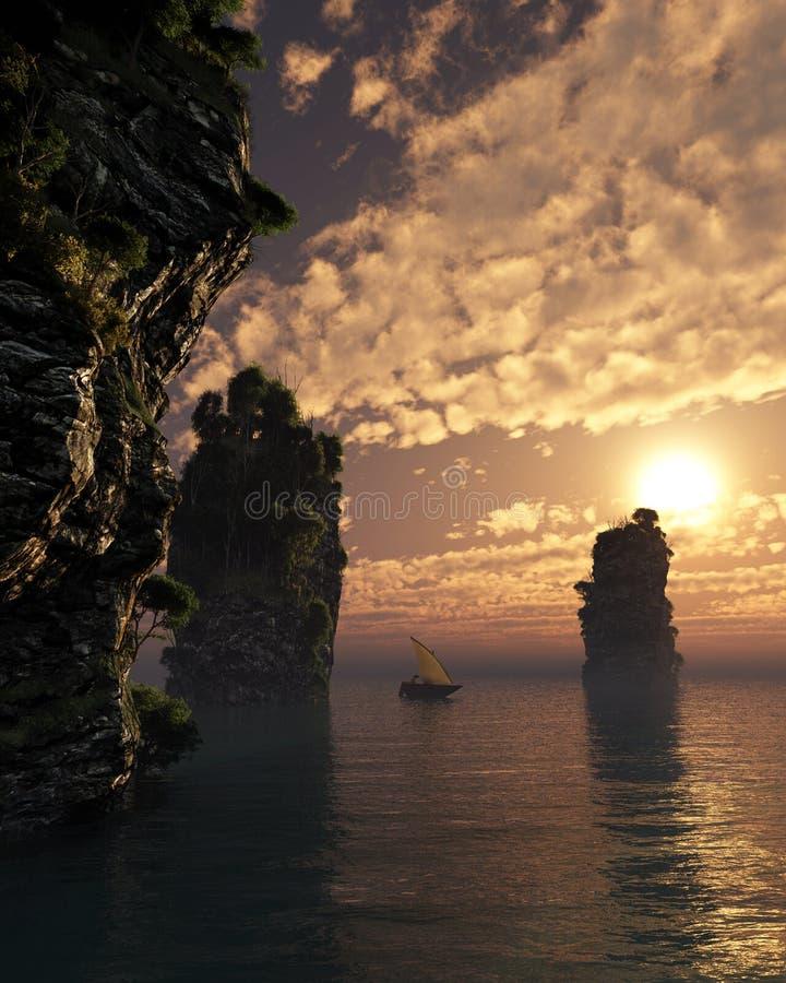 Chinese Fishing Boat Sailing Through Giant Sea Stacks at Sunset royalty free illustration