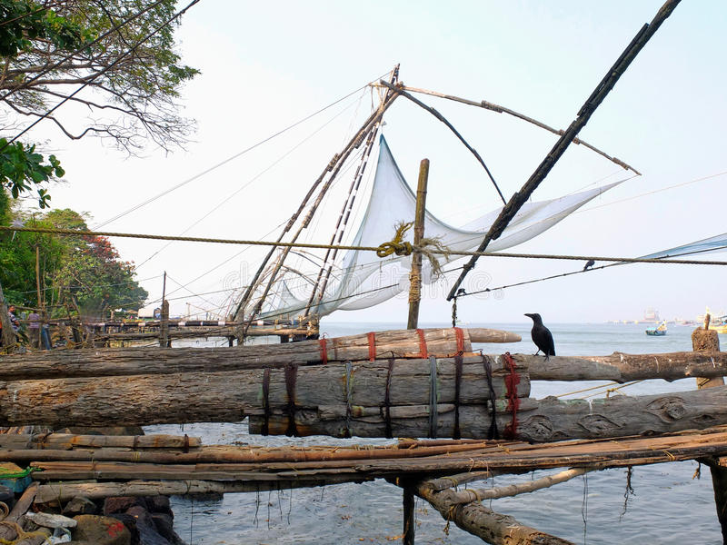 Chinese fishing net. Kerala, India royalty free stock photography