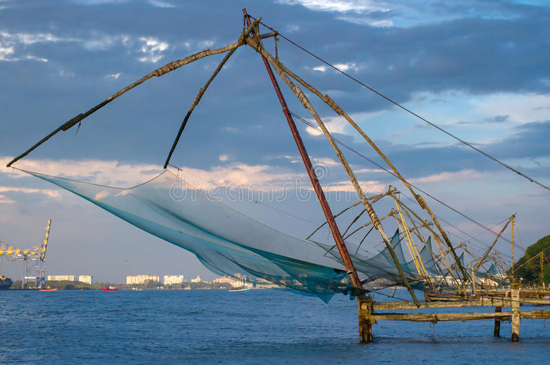 Chinese fishing net at sunrise in Cochin stock image