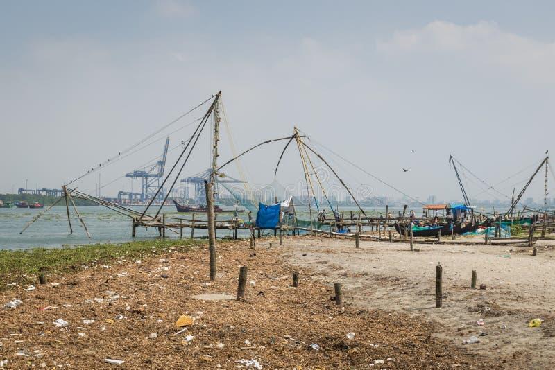 Chinese fishing nets, Fort Kochi, India royalty free stock photos