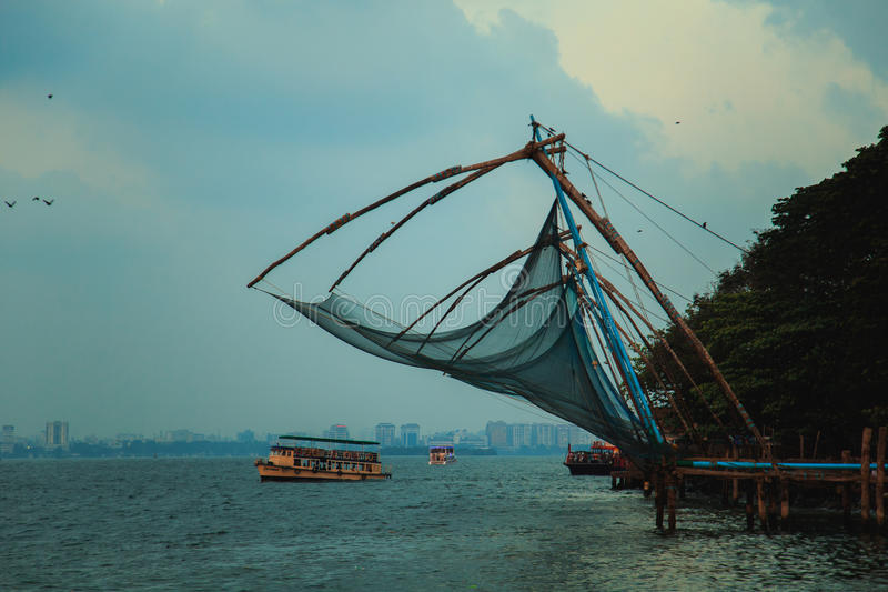 Chinese fishing nets in Fort Kochi. royalty free stock photography