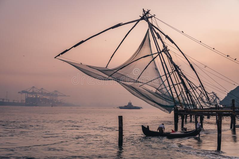 Chinese fishing nets during the Golden Hours at Fort Kochi, Kerala stock photos