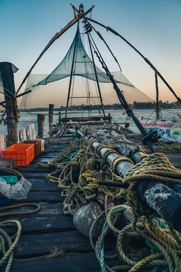 Chinese fishing nets during the Golden Hours at Fort Kochi, Kerala, India royalty free stock image