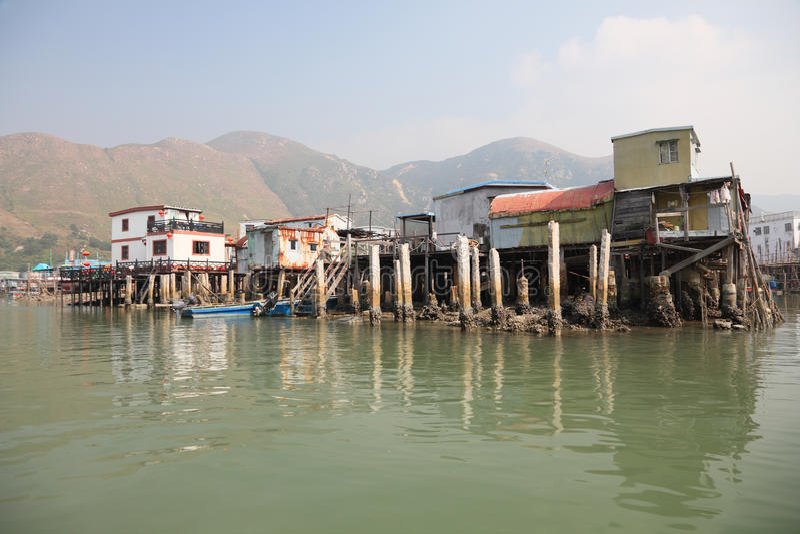 Chinese fishing village stock image