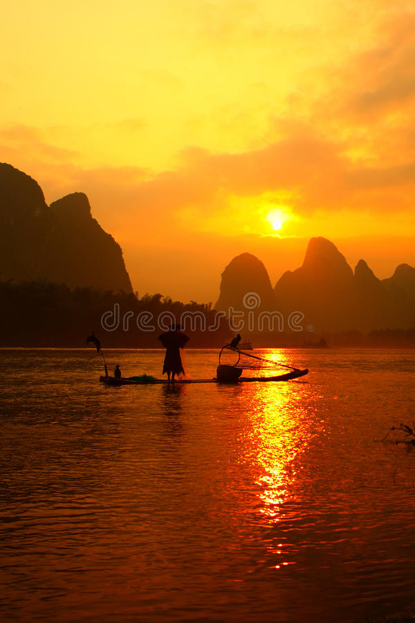 Chinese fishman fishing royalty free stock photos