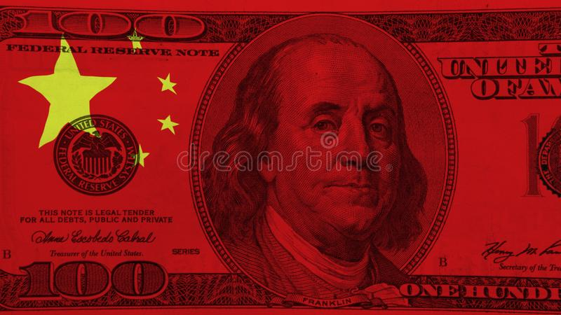 Chinese flag on the hundred us dollars bill. stock photography