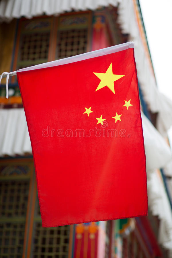 Download Chinese Flag On A Traditional Tibetan House Stock Illustration - Image: 32871802