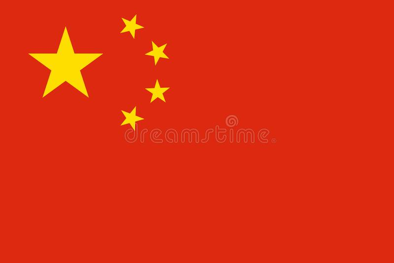 China flag vector isolate banner print flat royalty free illustration