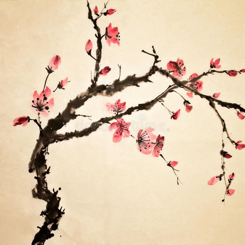 Chinese flower. Chinese painting, traditional art with flower in color on art paper