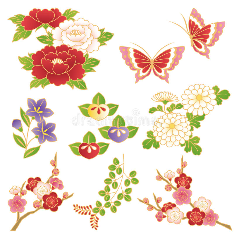 Chinese flowers vector illustration