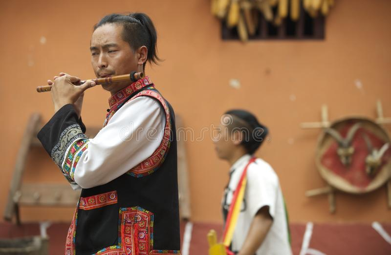 Chinese Flute Player stock photo