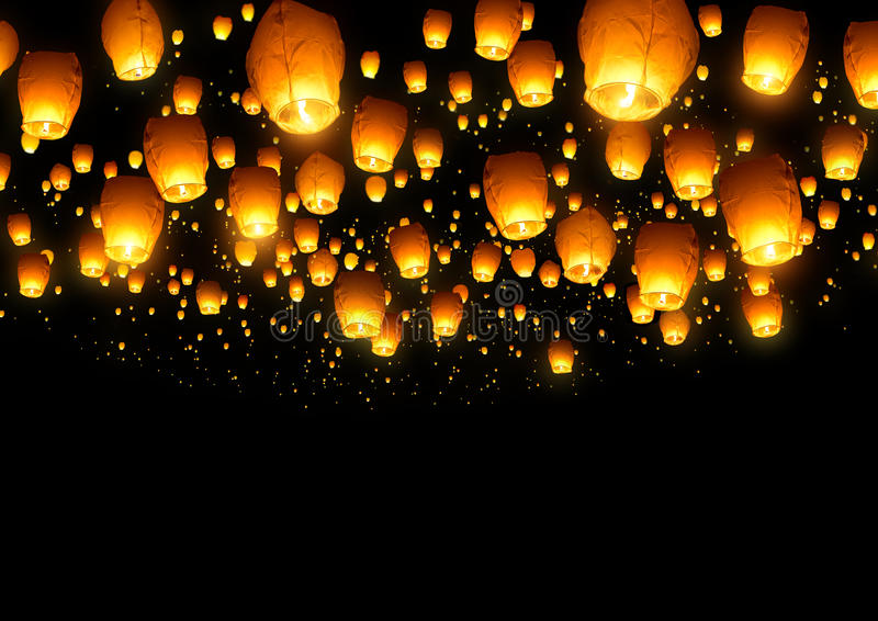Chinese Fly Lanterns. A large collection of flying chinese lanterns stock images