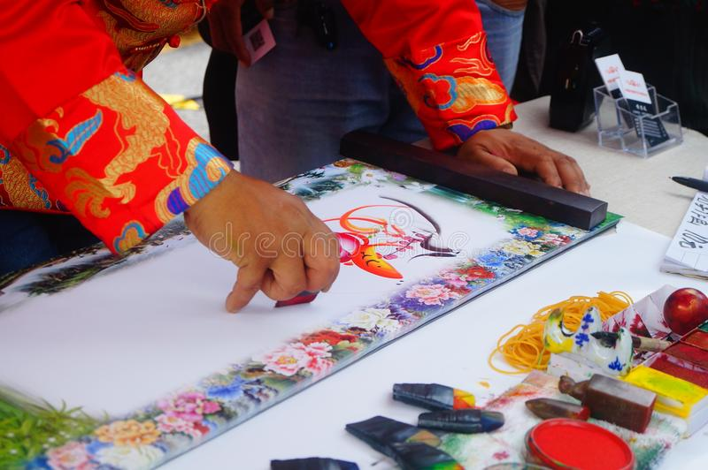 Chinese folk artists paint in their names. In shenzhen, china stock photography