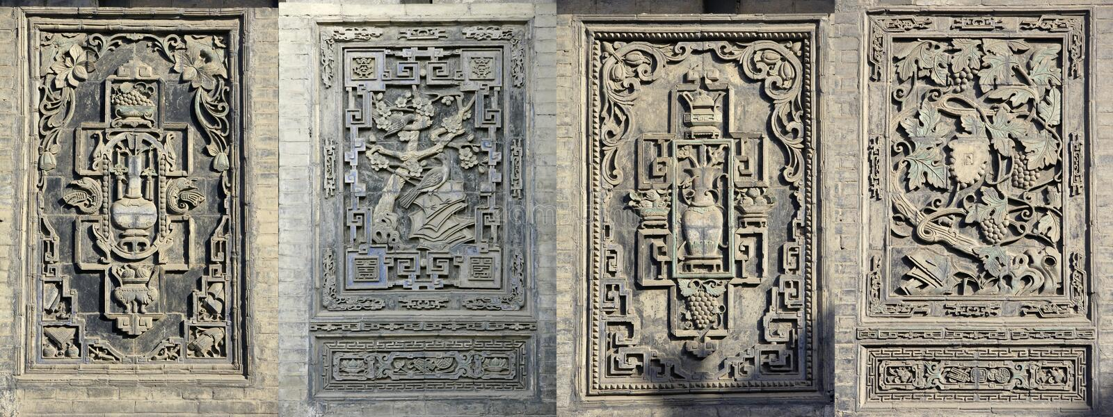 Chinese folk brick carving. Brick carving is a decoration on the wall in China's ancient stock photo