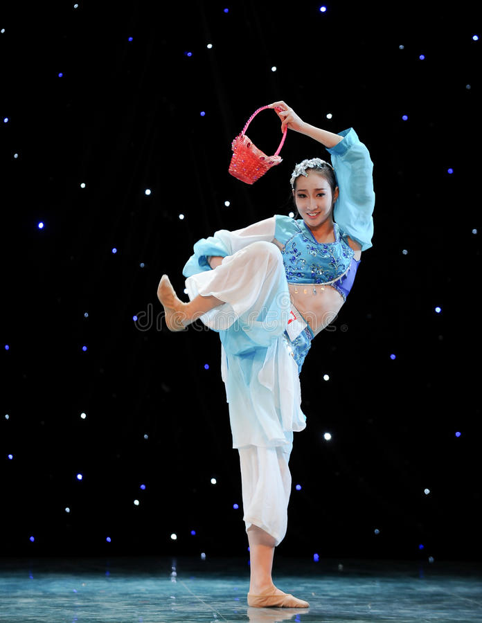 Chinese folk dance-Basket dance. This is a chinese folk dance which will be performed during harvest season。The Chinese people have many kinds of folk royalty free stock photography