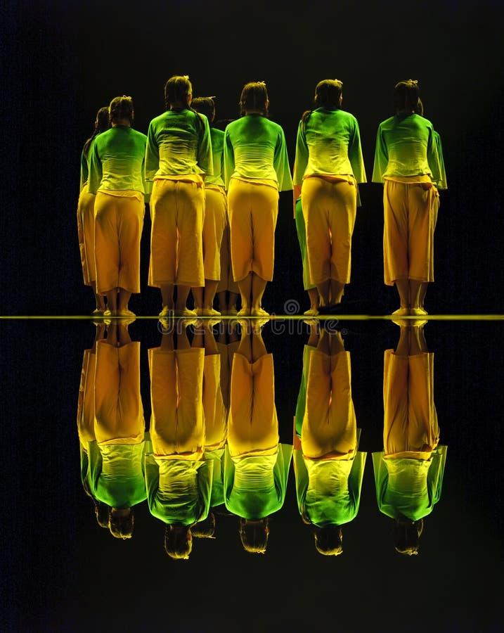 Chinese folk group dance stock image
