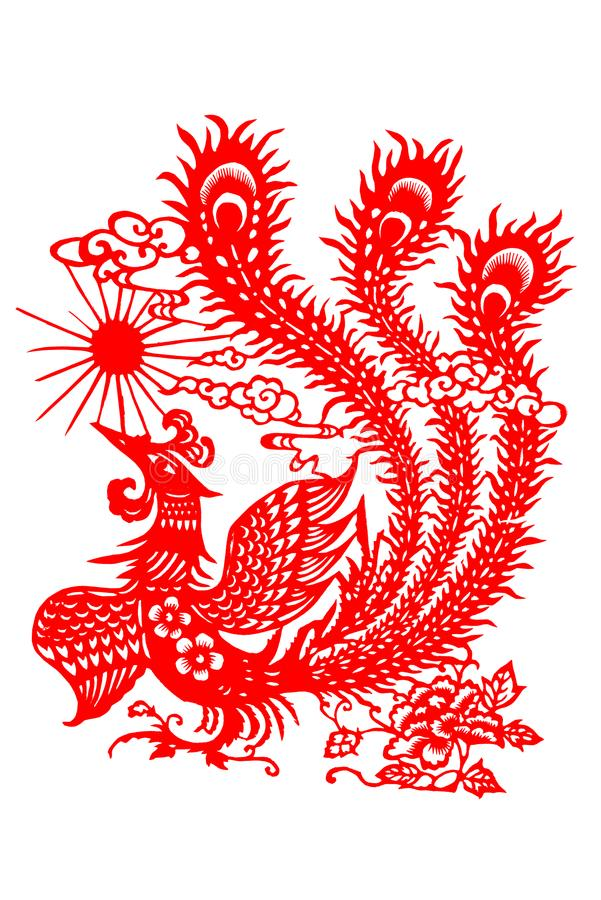 The paper cut of the phoenix royalty free illustration