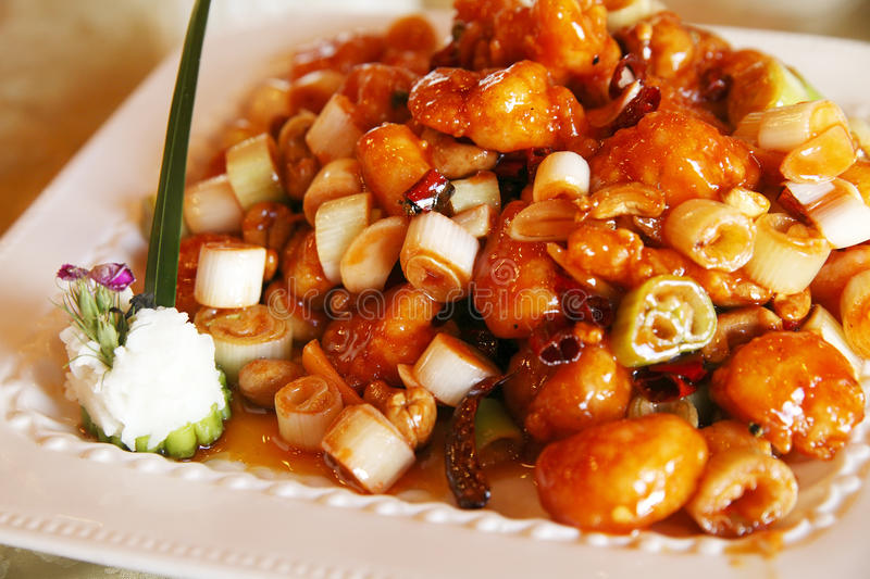 Chinese food. On the table. We called stir-fried shrimp balls in China royalty free stock photos
