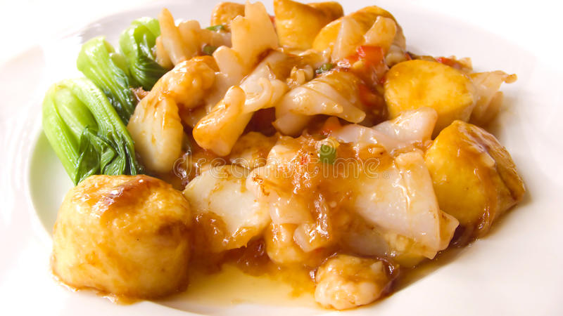 Chinese food. Tofu and fish and vegetables mix stock photos