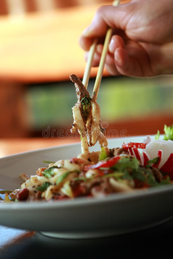 Chinese food. On white plate royalty free stock images