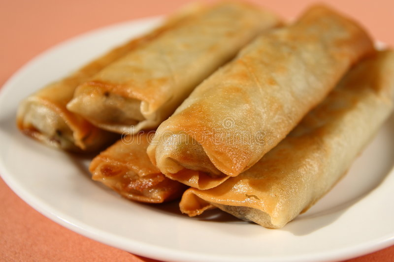 Chinese Food. A traditional Chinese food. It's called'spring rolls' (meat and vegetables rolled with thin cakes eaten as a snack stock image