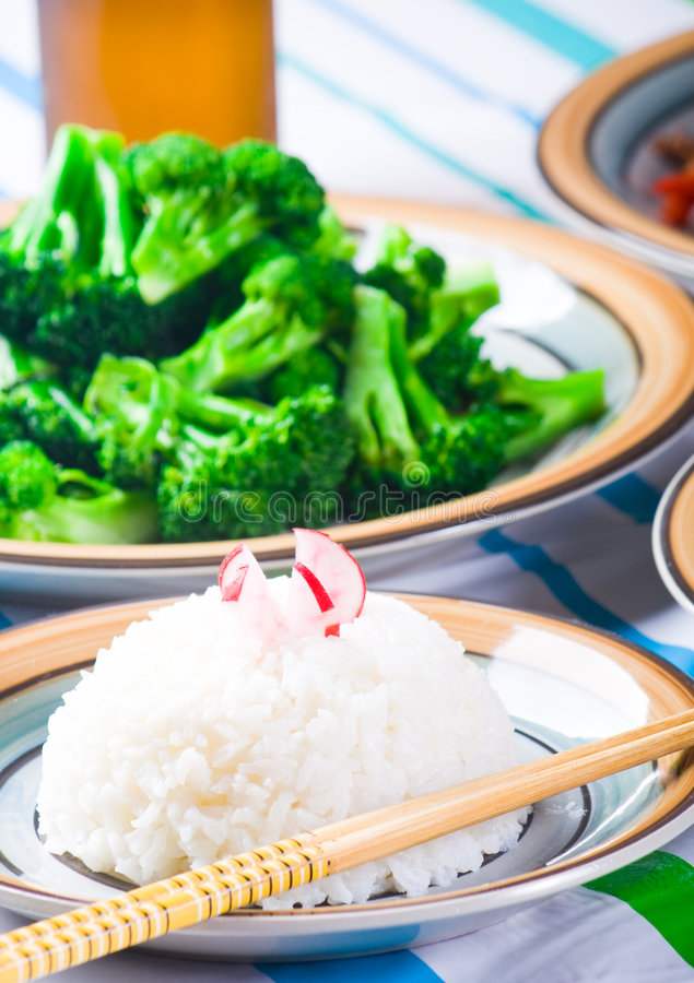 Chinese food. With rice and green vegetable royalty free stock image