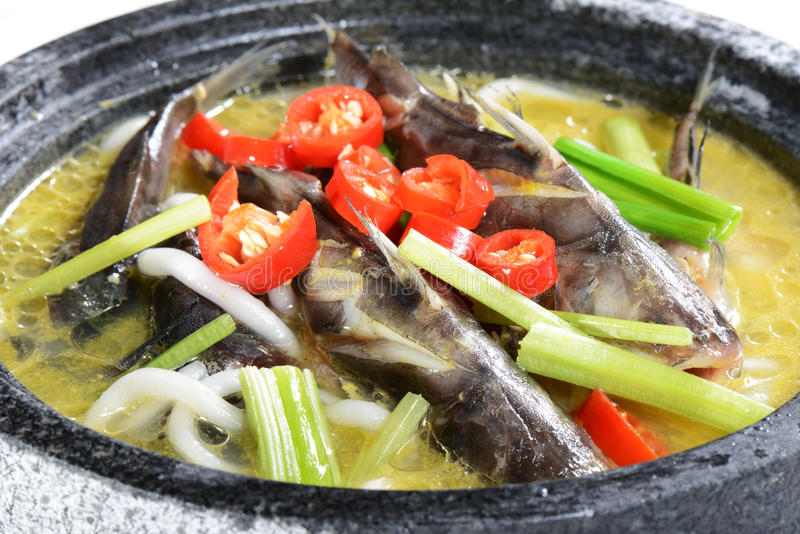 Chinese Food: Boiled fish stock photography